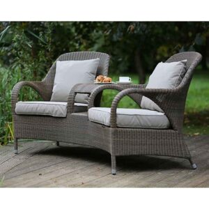 4 Seasons Outdoor Sussex Love Seat in Polyloom Taupe with 4 Cushions