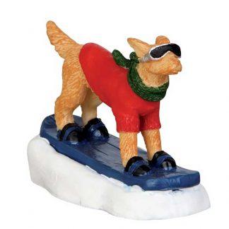 Lemax Figurine of Snowboarding Dog