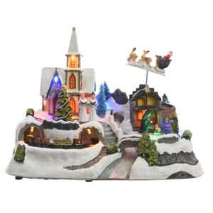 Lumineo Christmas Villages LED Church with Train
