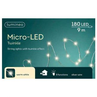 Lumineo String of 180 Warm White Twinkle Effect micro LED Lights