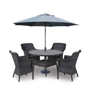 4 Seasons Outdoor - Boston 4 Seat Dining Set in Graphite with Parasol