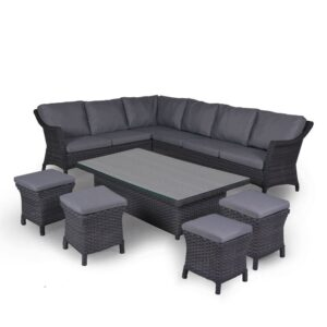 4 Seasons Outdoor - Boston Cosy Dining Set in Graphite (Large)