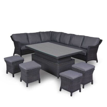 4 Seasons Outdoor - Boston Cosy Dining Set in Graphite (Large) Table Up