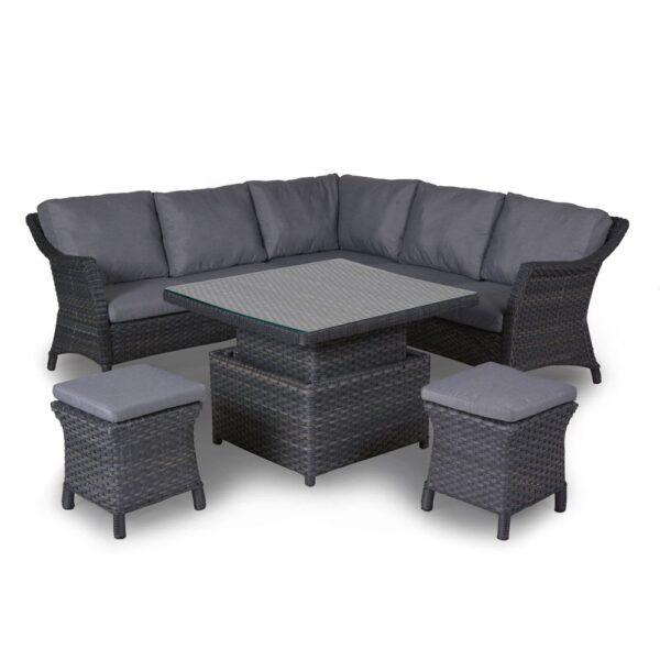 4 Seasons Outdoor - Boston Cosy DIning Set in Graphite (Medium) Table Up