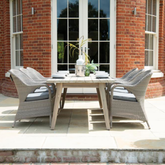 4 Seasons Outdoor - 6 Seat Dining Set Derby Table & Sussex Armchairs with grey olefin cushions