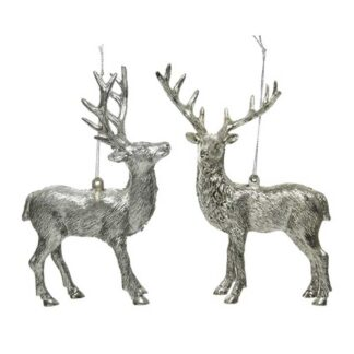 Plastic Deer With Hanger 2Ass Silver Rustic/Antiqu