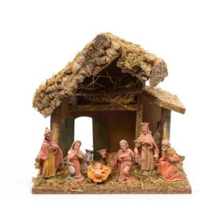 Nativity House with 8 Figures