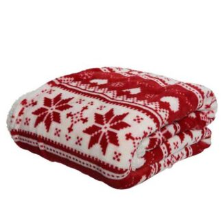Red and White Throw with Snowflake Design