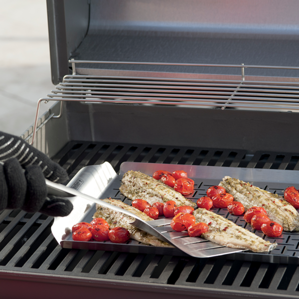 Fit lots on the Weber Deluxe Grilling Pan - Rectangular (Stainless Steel) #6435