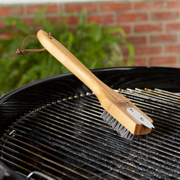 """Weber Barbecue Grill Brush with stainless-steel bristles & Bamboo Handle (30cm/12"""") #6463"""