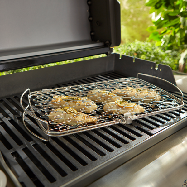 Hold onto garnishes and flavour with the Weber Grilling Basket - Large (Stainless Steel)