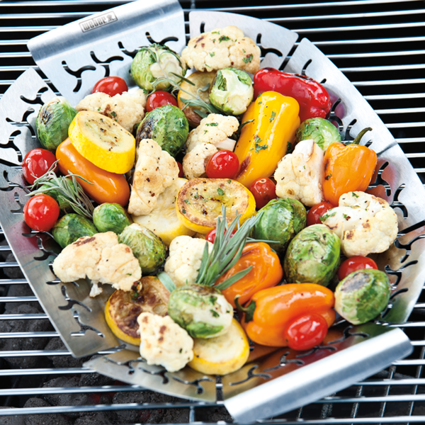 Use the Small Weber Premium Grilling Basket for side dishes