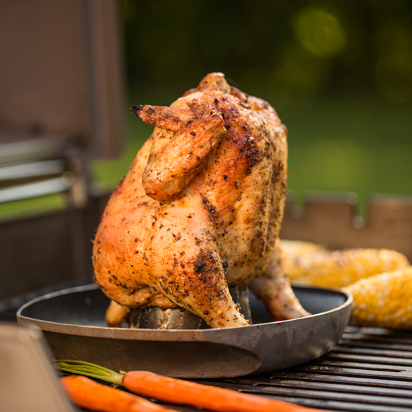 Barbecue the perfect chicken on the Weber Barbecue Deluxe Poultry Roaster