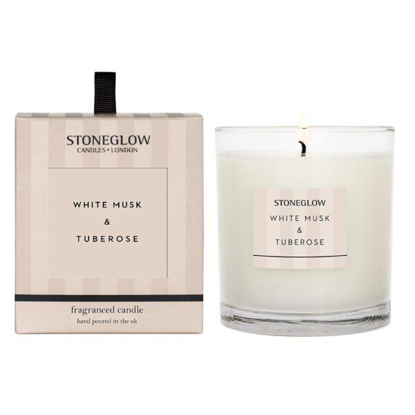 Stoneglow White Musk and Tuberose Candle