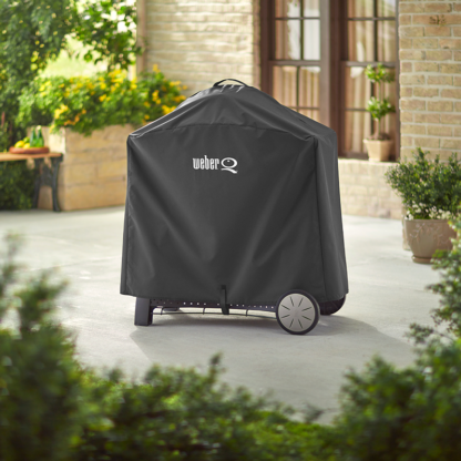 The Weber Barbecue Grill Premium Cover for Q 3000 / Q 2000 series with cart (Black)