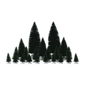 Lemax Set Of 21 Assorted Fir Trees