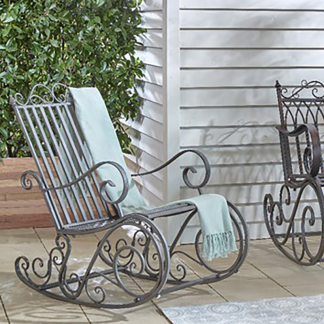 Bordeaux Outdoor Iron Rocking Chair (Grey Washed)