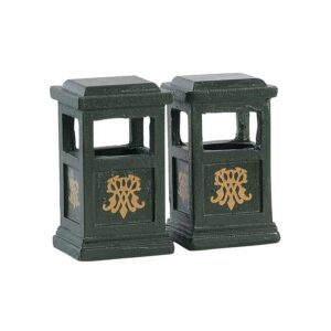 Set of 2 Lemax Green Trash Cans
