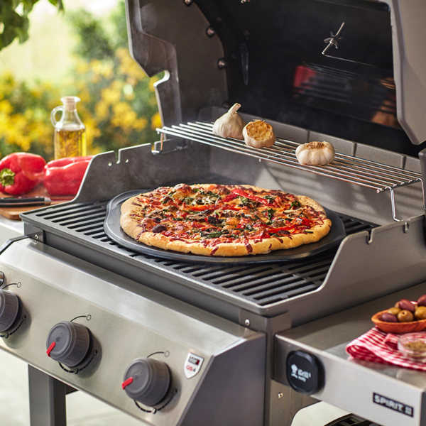 "Make a 14"" Pizza on the Weber Barbecue Premium Ceramic Glazed Grilling Stone (36cm) #8830"