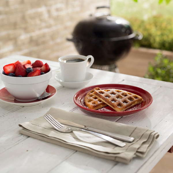 Make waffles for breakfast on the Weber Barbecue Gourmet BBQ System (GBS) Waffle & Sandwich Maker