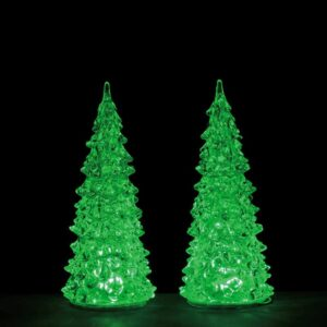 set of 2 Medium Lemax Crystal Lighted Trees