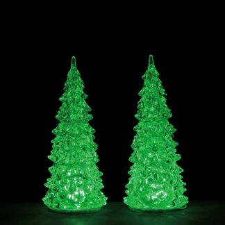 set of 2 Medium Lemax Crystal Lighted Trees
