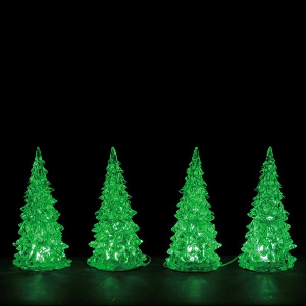 Set of 4 Lemax Crystal Lighted Trees with 3 Colour Display