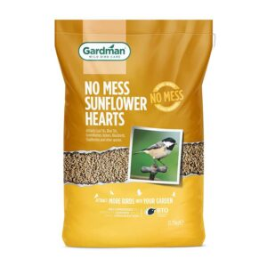 A 1kg Bag of Gardman No-Mess Sunflower Hearts for Wild Birds. 12.75Kg