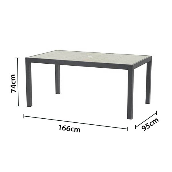 Bramblecrest 164 x 95cm Rectangular Dining Table with Ceramic Top - Dimensions