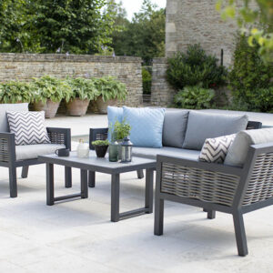 Bramblecrest Portofino 4 Seater Aluminium & Wicker Outdoor Lounge Set
