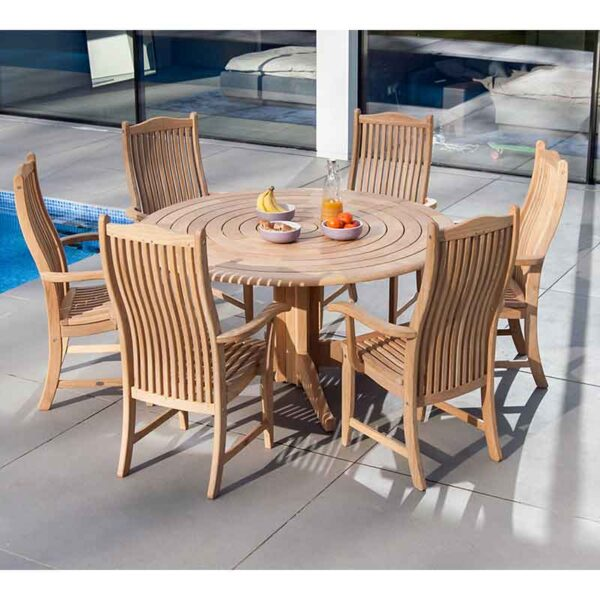 Alexander Rose Roble 6 Seat Garden Dining Set poolside