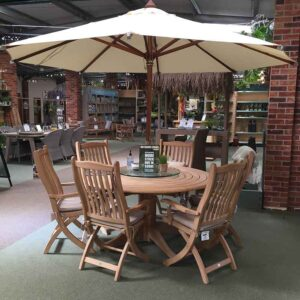 Alexander Rose Roble 6 Seat Garden Dining Set with Ecru Parasol (3m) & Glass Lazy Susan