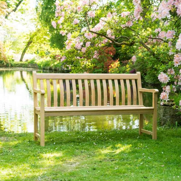 Alexander Rose Roble Broadfield Garden Bench (5ft) by the lake