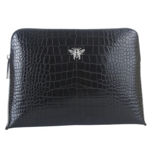 Alice Wheeler Black Croc Large Cosmetic Bag AW0041
