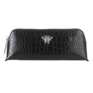 Alice Wheeler Black Croc Small Makeup Bag AW0040 Front