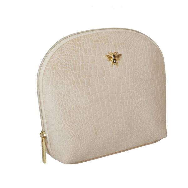 Alice Wheeler Velvet Cream Embossed Makeup Bag AW0097 SIDE