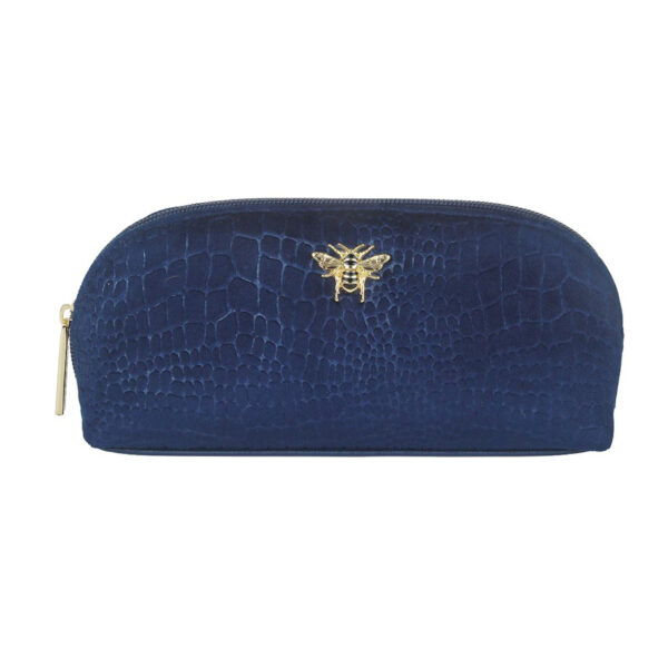 Alice Wheeler Velvet Navy Embossed Makeup Bag AW0088