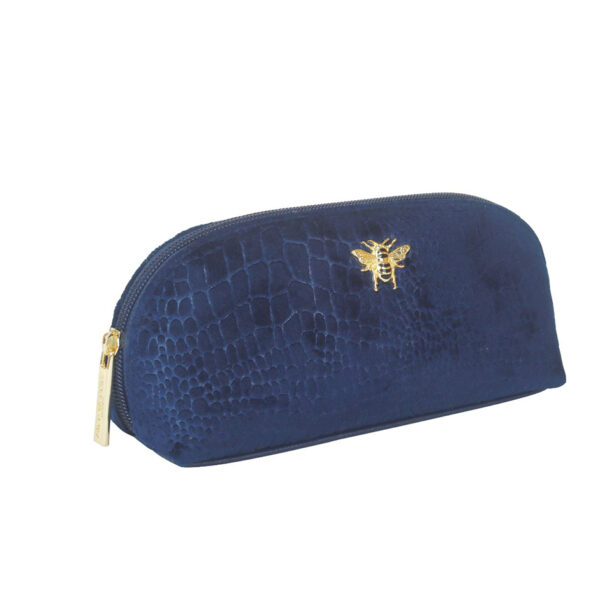 Alice Wheeler Velvet Navy Embossed Makeup Bag AW0088 SIDE