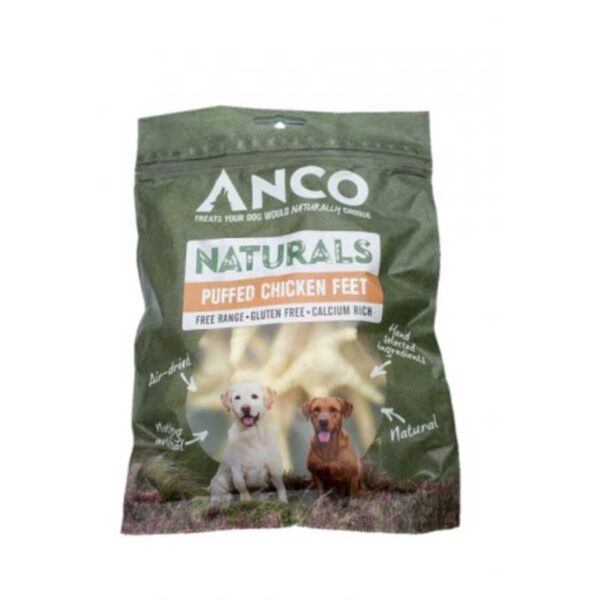 Anco Natural Puffed Chicken Feet Dog Treats 80g
