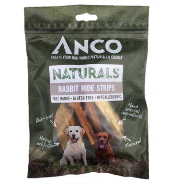 Anco Natural Rabbit Hide Strips Dog Treats 80g
