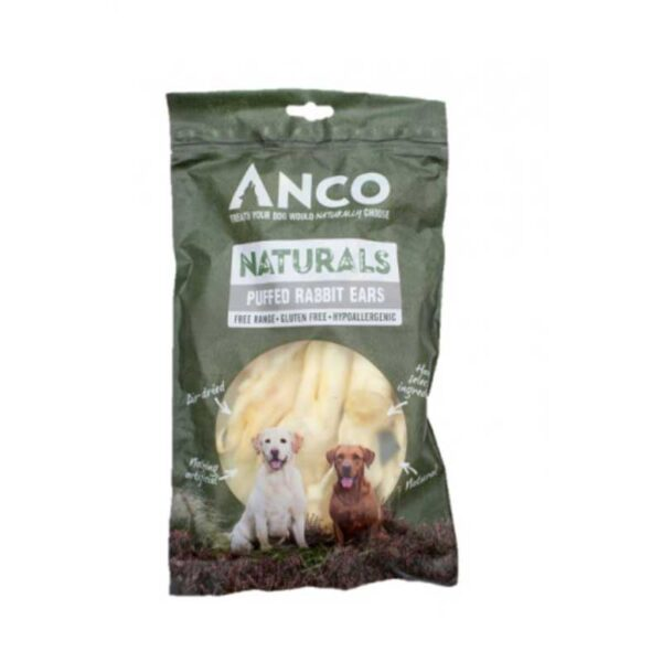Anco Naturals Puffed Rabbit Ears Dog Treats 100g