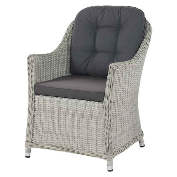 Monterey Armchair in Dove Grey with season-proof Eco Charcoal seat & back cushions