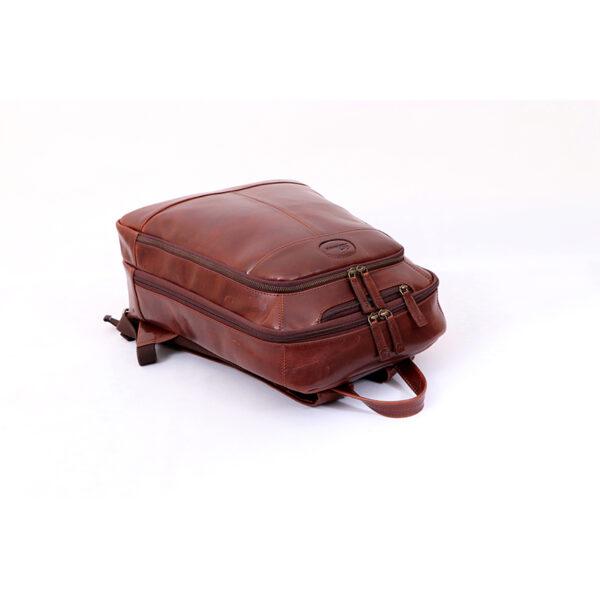 Ashwood Leather Men's Mayfair Laptop Business Rucksack Brown Flat