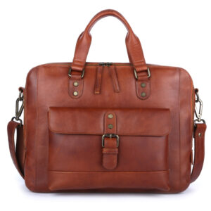 Ashwood Leather Men's Spitalfields Gloving High Veg Laptop Bag Tan front