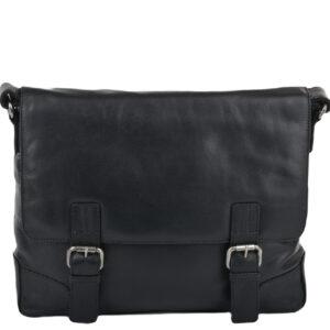 Ashwoood Leather Mens Black Oscar Black Bag front