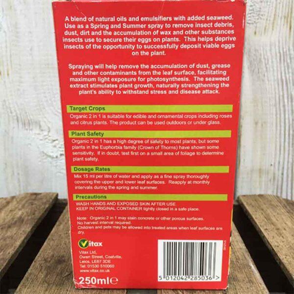 Back of Vitax Organic 2 in 1 Plant Invigorator 250ml