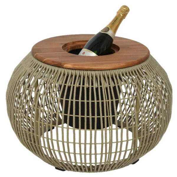 Beige Seville Rope Round Side Table as an ice bucket