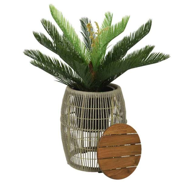 Beige Seville Rope Side Table used as a planter