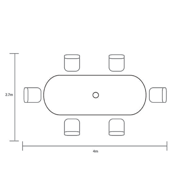 Footprint dimensions for Hartman Berkeley 6 Seat Oval Garden Dining Set with 3m Parasol & 15kg Base (Maize & Wheatgrass)