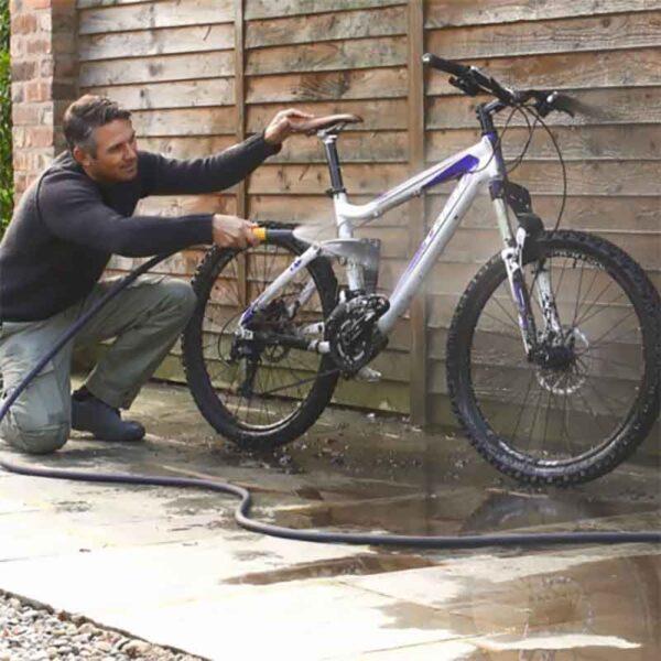 Bike cleaning with Hozelock Tuffhoze